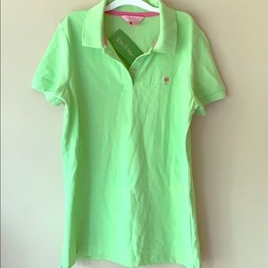 Lilly Pulitzer palm green pique polo shirt